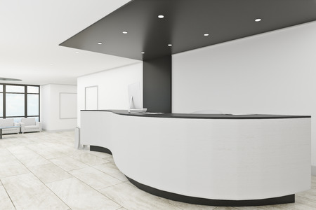 Clean office lobby interior with reception desk. Entrance concept. 3D Rendering Stock Photo - 112761341