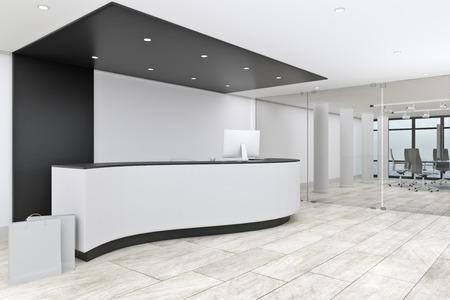 Intérieur du hall de bureau moderne avec réception. Notion d'entrée. Rendu 3D