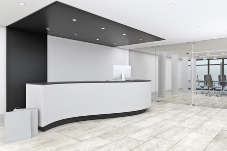 Modern office lobby interior with reception desk. Entrance concept. 3D Rendering