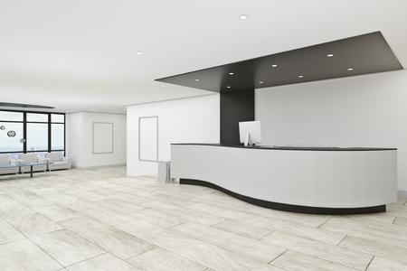Interior de vestíbulo de oficina de hormigón con mostrador de recepción. Concepto de entrada. Representación 3D