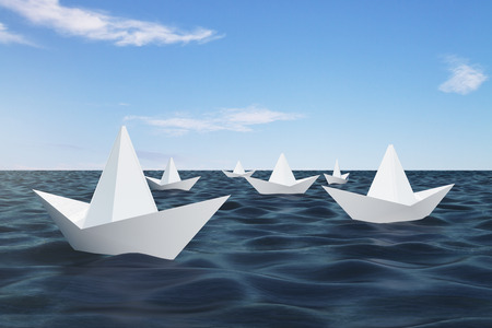 Origami ship on blue water. Leadership and leader concept. 3D Rendering Stockfoto