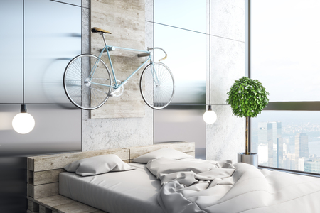 White bedroom interior with furniture, decorative items and daylight. 3D Rendering