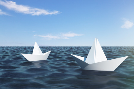 Origami ship on blue water. Leadership and teamwork concept. 3D Rendering
