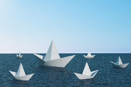 Origami ship on blue water. Leadership and way concept. 3D Rendering