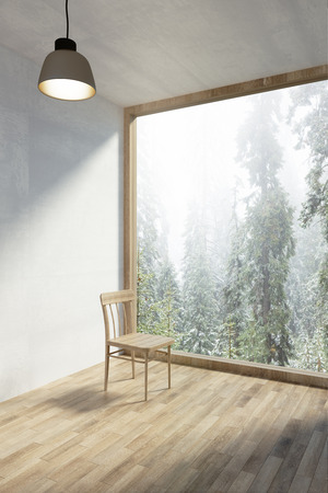 Contemporary minimalistic interior with beautiful nature view, chair and daylight. 3D Rendering