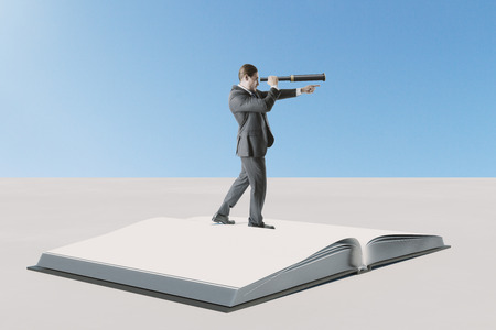 Education and knowledge concept. Businessman looking into the distance while standing on pile of books. 3D Rendering Stok Fotoğraf