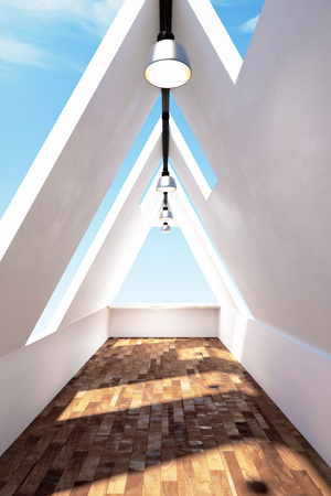 Modern triangular loft interior with sky view, wooden floor and daylight. 3D Rendering Zdjęcie Seryjne