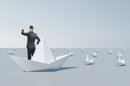 Businessman looking into the distance from abstract origami boat. Leadership and research concept. 3D Rendering