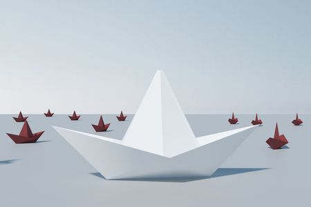 Leadership and way concept. Creative origami shipboat background. 3D Rendering Stock Photo