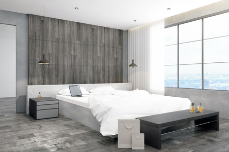 Light bedroom interior with city view and empty laptop. 3D Rendering