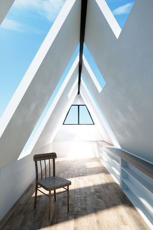 Modern triangular loft interior with sky view, wooden floor and chair. 3D Rendering