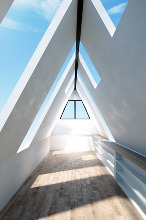 New triangular loft interior with sky view, wooden floor and daylight. 3D Rendering