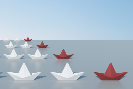 Leadership and supervision concept. Creative origami ship/boat background. 3D Rendering Archivio Fotografico - 111338397