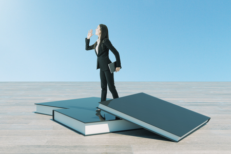 Education and vision concept. Businesswoman looking into the distance while standing on pile of books. 3D Rendering