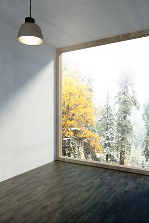 Clean minimalistic interior with beautiful nature view and daylight. 3D Rendering Stock Photo