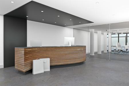 Interior del vestíbulo moderno con mostrador de recepción. Concepto de área de espera de oficina. Representación 3D