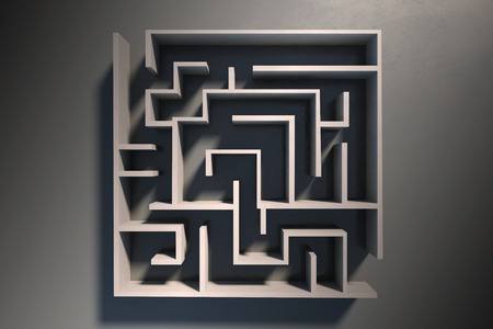 Abstract labyrinth background. Challenge and strategy concept. 3D Rendering