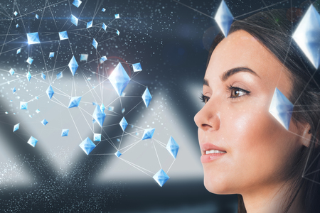 Portrait of attractive young european businesswoman with polygonal pattern. Technology and future concept. Double exposure