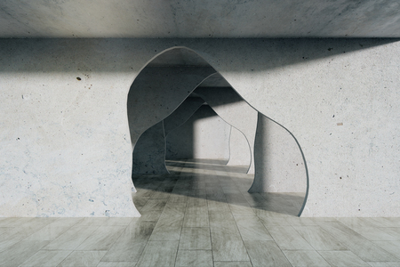 Grey concrete interior with tunnel. 3D Rendering