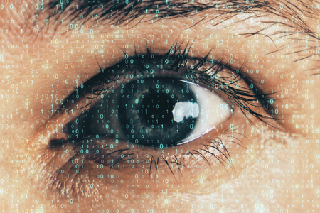 Close up of eye with binary code. Biometrics and computing concept. Double exposure Stock Photo