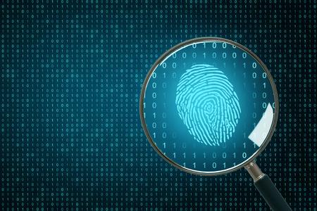 Sfondo di codice binario con lente d'ingrandimento e impronta digitale. Biometria e concetto di calcolo. Rendering 3D