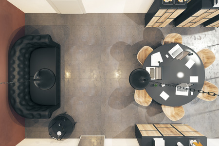 Top view of modern boarding room interior with furniture and equipment. 3D Rendering Foto de archivo