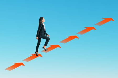 Side view of businesswoman climbing arrow ladder on sky background. Growth and ascend concept