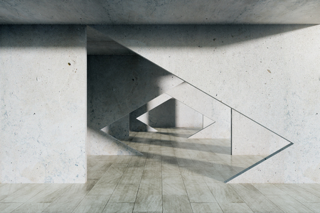 Minimalistic concrete interior with tunnel. 3D Rendering