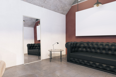 Modern office interior with empty billboard and sofa. Mock up, 3D Rendering 스톡 콘텐츠
