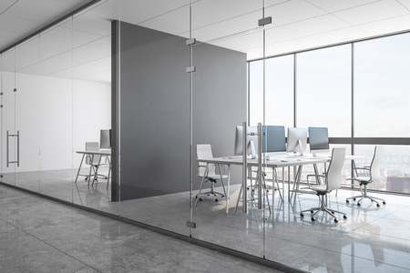 New concrete office interior with panoramic city view, equipment and daylight. Coworking workplace concept. 3D Rendering Zdjęcie Seryjne