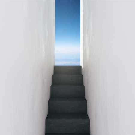 Walls with stairs leading to sky view. Success and way concept. 3D Rendering