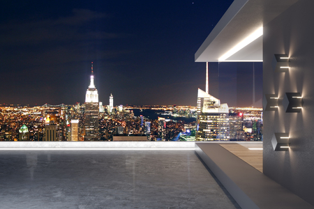 Modern rooftop with night New York city view and abstract glass see through interior. 3D Rendering