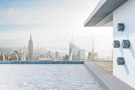 Beautiful rooftop with bright New York city view and abstract glass see through interior. 3D Rendering Banco de Imagens