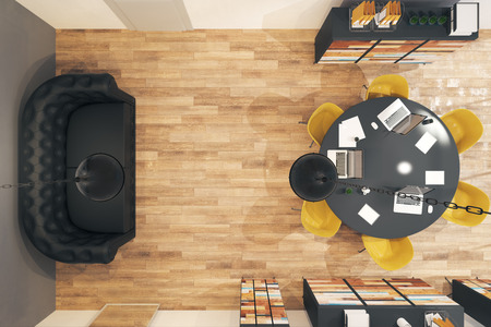 Top view of contemporary conference room interior with furniture and equipment. 3D Rendering