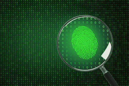 Binary code background with magnifier and finger print. Biometrics and computing concept. 3D Rendering Stock Photo