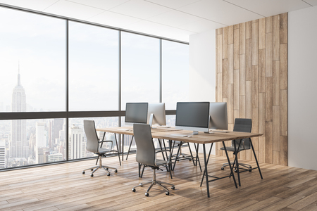 Luxury wooden office interior with panoramic city view, equipment and daylight. Coworking workplace concept. 3D Rendering