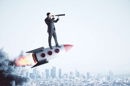 Businessman on rocket looking into the distance with telescope on light city background. Startup and entrepreneurship concept. 3D Rendering Stock Photo - 112172003