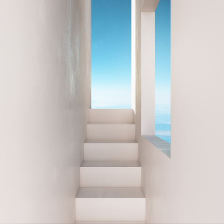 Walls with stairs leading to sky view. Success and freedom concept. 3D Rendering