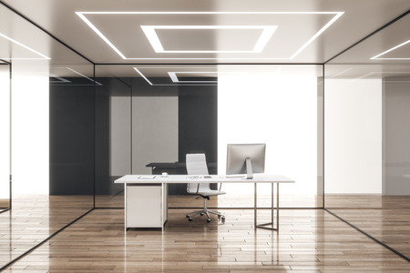 Modern office interior with glass walls and workplace. 3D Rendering