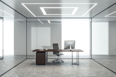 Modern concrete office interior with glass walls and workplace. 3D Rendering Banco de Imagens
