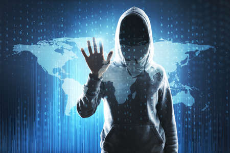 Abstract image of hacker with map. Global hacking and malware concept. Double exposure Stock Photo