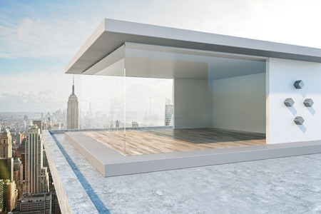 Urban rooftop with bright New York city view and abstract glass see through interior. 3D Rendering