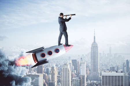 Businessman on rocket looking into the distance with telescope on light city background. Startup and success concept. 3D Rendering 版權商用圖片