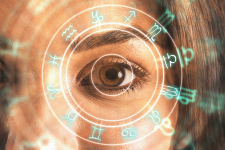 Close up of eye with horoscope wheel. Fortune and abstract concept. Double exposure Stock fotó - 112172163