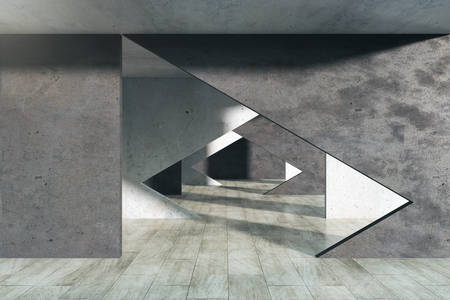 Modern concrete interior with tunnel. 3D Rendering
