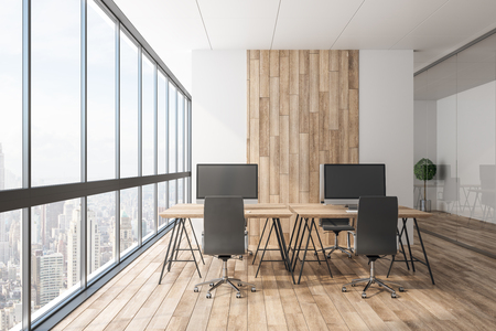 Clean wooden office interior with panoramic city view, equipment and daylight. Coworking workplace concept. 3D Rendering