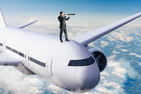 Businessman looking at airplane with telescope. Research and travel concept. 3D Rendering Stock Photo