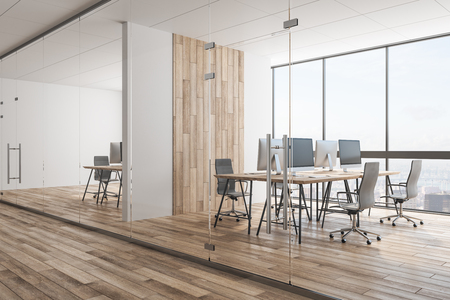 Contemporary wooden office interior with panoramic city view, equipment and daylight. Coworking workplace concept. 3D Rendering Banco de Imagens