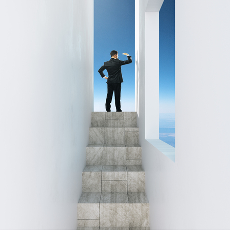 Businessman on stairs looking into the distance on sky background. Research and vision concept. 3D Rendering