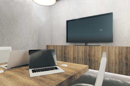 Modern office interior with empty laptop. Mock up, 3D Rendering